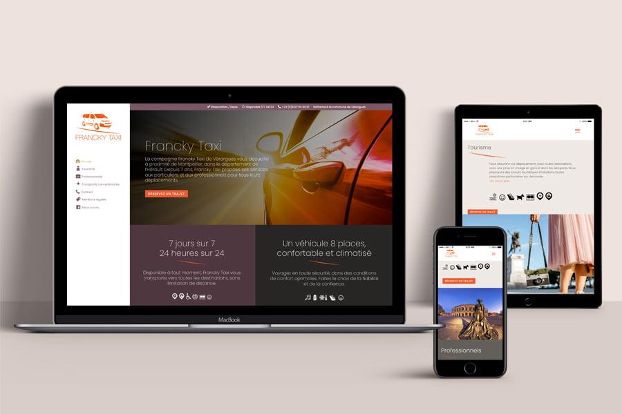 La compagnie Francky Taxi, création et développement du site internet, web design